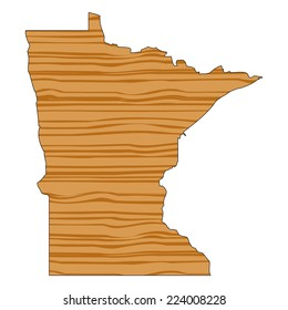 Map with wood texture inside - Minnesota