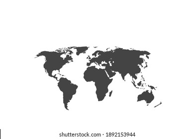 map of the world against a white background. Illustration of gray, map of the world.