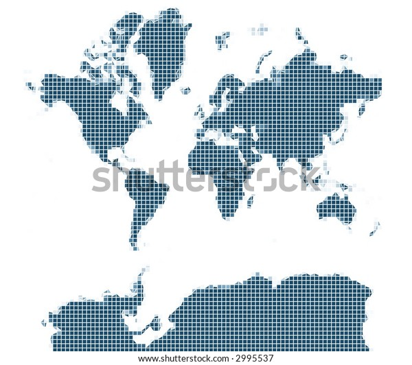 map of the world blue mozaic
