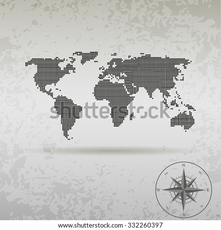 Map Of The World With Compass.Map World Dots Compass Stock Illustration 332260397 Shutterstock
