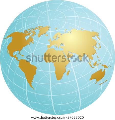 Spherical World Map.Map World Illustration On Spherical Globe Stock Illustration