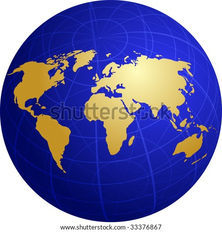 Map World Illustration On Spherical Globe Stock Illustration