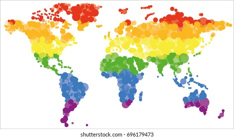 Map of the world made of circles of different sizes in colors of LGBT rainbow pride flag isolated on white