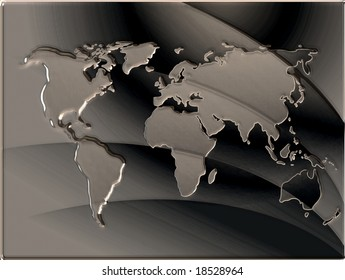 Map of the world in metallic embosed style