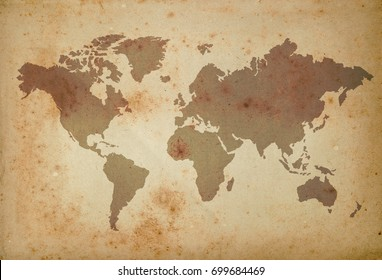 map of the world on old paper