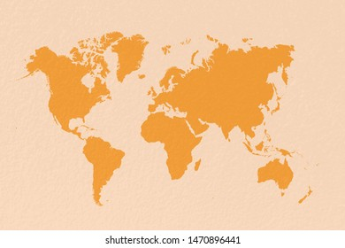 map world on pastel yellow background
