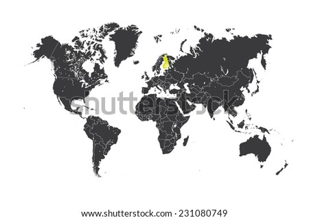 Map World Selected Country Finland Stockillustration 231080749 ...