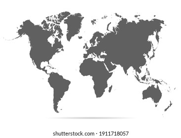 Map world. Worldwide globe. Worldmap global. Grey continents. Simple flat gray silhouette map world. Planet earth. Editable continents for travel design. Geography map world. Illustration