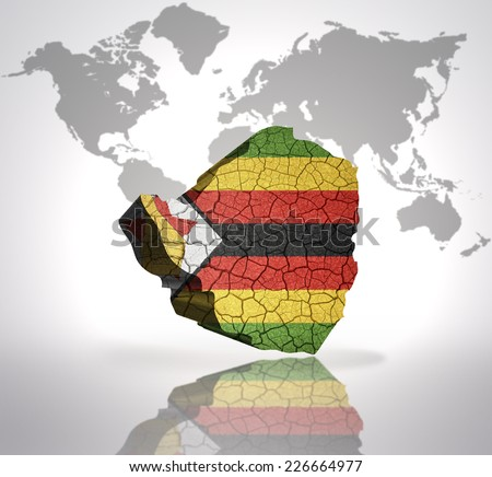 Map Zimbabwe Zimbabwean Flag On World Stock Illustration - Royalty ...