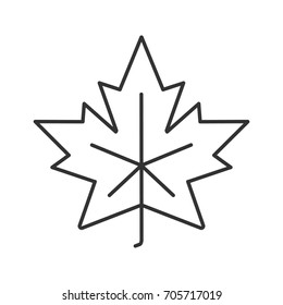 Maple leaf linear icon. Canada symbol contour symbol. Autumn attribute thin line illustration. Raster isolated outline drawing