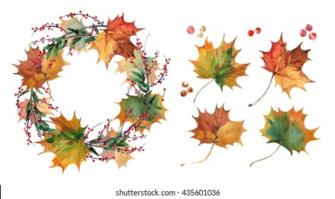 Maple leaves. Autumn wreath of maple leaves hand drawn. Watercolor illustration. Greeting card or Invitation