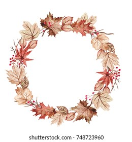 Maple leaves with red cherry watercolor welcome Autumn season wreath frame banner design Illustration