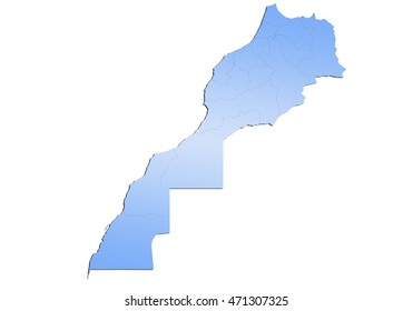 map-morocco country on white background.
