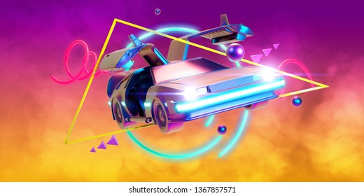 Mar.12, 2019:  Illustration Delorean car in yellow and purple  gradient background whit smoke, retro style - 3D Render