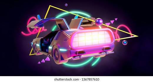 Mar.12, 2019:  Illustration Delorean car in retro style - 3D Render