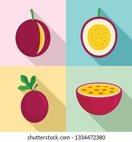 Maracuja icons set. Flat set of maracuja icons for web design