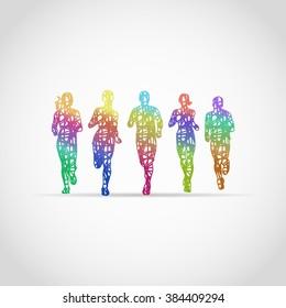 Marathon Runners, designed using colorful grunge brush graphic