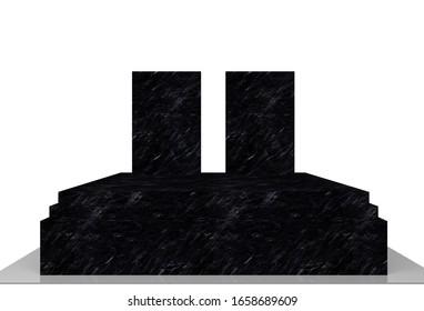 marble black tile 3d render illustration grave monument