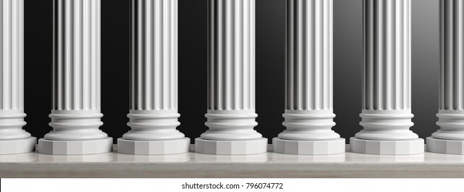 Marble classical pillars row on black background. 3d illustration