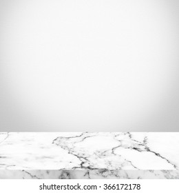 Marble deck table on white wall background. Vintage color tone style.