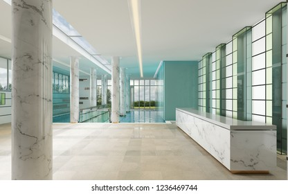Marble and glass reception desk in spa center. 3d rendering