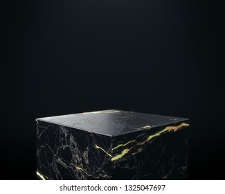 Marble and Gold Pedestal, Product Stand. 3D Rendering