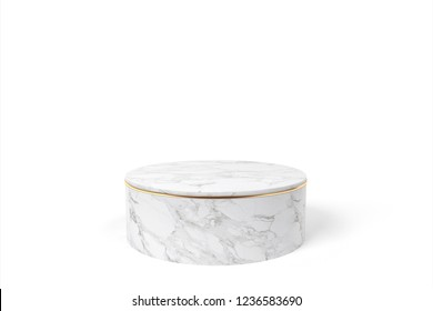Marble and Gold Product Stage on White Background. 3D Rendering