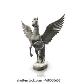 marble  horse statue isolated on white background, 3d render