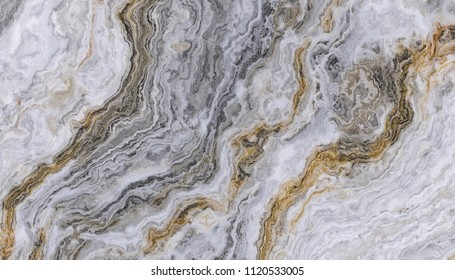Marble pattern with wavy gold and black veins. Abstract texture and background. 2D illustration