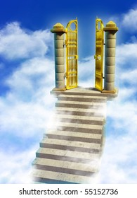 Marble stairs and golden gates lead you to Paradise. Digital illustration.