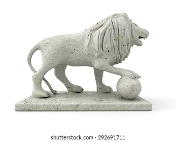 Marble statue of a lion 3D rendered isolated on white background (right view)