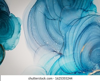Marble Streaks. Sky Alcohol Ink Art. Emerald Natural Luxury Marble. Blue Abstract Paint Swirl. Alcohol Ink Art. Colour Water Diffusion. Texture Art.