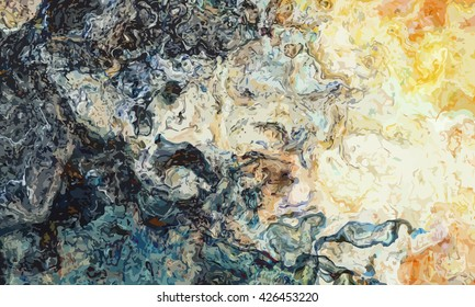 marble texture background. marble ink background. watercolor marble painting illustration in color yellow and orange and brown and blue and black.