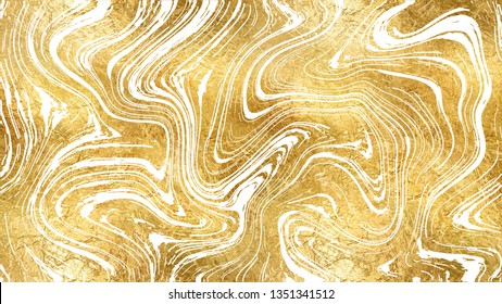 Marble Texture in Gold Foil & White Swirls. Ink Marbling Background. Elegant Luxury Backdrop. Liquid Paint Swirled Pattern. Japanese Suminagashi or Turkish Ebru Technique. 9:16 Aspect Ratio HD Format.