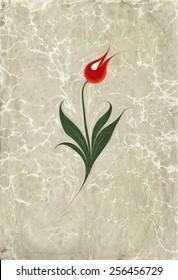 Marbled paper artwork (ebru) - Tulip