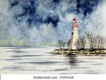 Marblehead Lighthouse (Winter Scene)