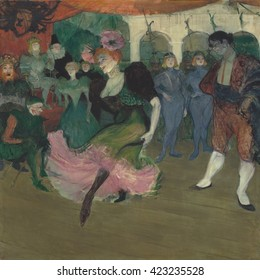 Marcelle Lender Dancing the Bolero in 'Chilperic', by Henri de Toulouse-Lautrec, 1895-96, French Post-Impressionism painting, oil on canvas. Toulouse-Lautrec depicts the actress illuminated from belo