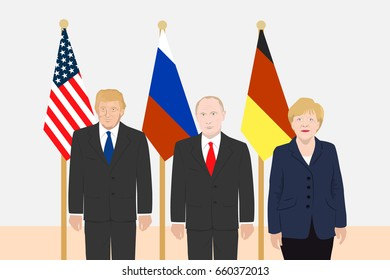 March 06, 2017: editorial illustration of Russian President Vladimir Putin, the USA President Donald Trump, the Chancellor of Germany Angela Merkel on countries flags background.