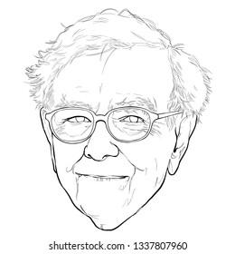 March 14, 2019 Caricature of Warren Edward Buffett, Warren Buffett, Investor , Businessman Millionaire Portrait Drawing Illustration.