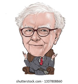 March 14, 2019 Caricature of Warren Edward Buffett, Warren Buffett, Investor , Businessman Millionaire Portrait Drawing Illustration.
