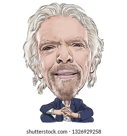 March 2, 2019 Caricature of Richard Charles Nicholas Branson, Richard Branson pioneer Virgin Group, Businessman Millionaire Portrait Drawing Illustration.