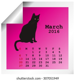 March 2016 Calendar with black cat silhouette