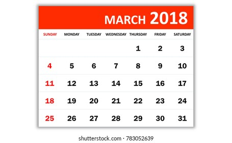 March 2018. Monthly calendar 2018 year in simple style design. Week starts from Sunday.