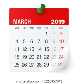 March 2019 - Calendar. Isolated on White Background. 3D Illustration