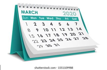 March 2020 Calendar in white background