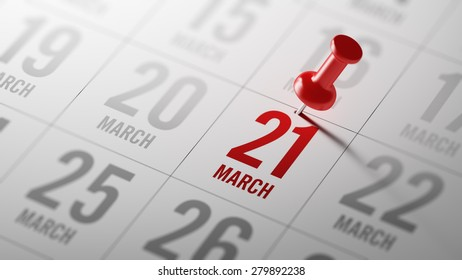 March 21 written on a calendar to remind you an important appointment.