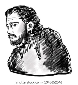 March 22, 2019 - Game of thrones character. Kit Harington in role of Jon Snow. Fantasy literature hero portrait. Brave male image with beard. Jon Snow face sketch for articles, web, editorial use.