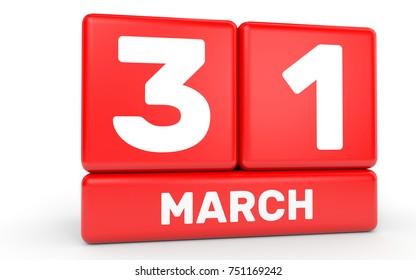 March 31. Calendar on white background. 3D illustration.