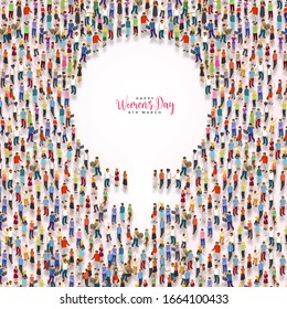 March 8, Happy Women's Day symbol with standing many women & men with isolated background.