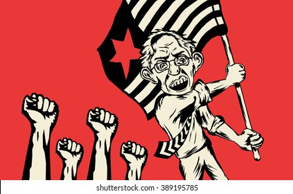 MARCH 9, 2016: Leftist candidate Bernie Sanders wins primary election for United States presidential election for Democratic party in Michigan. Parody on classic socialist / communist aesthetics